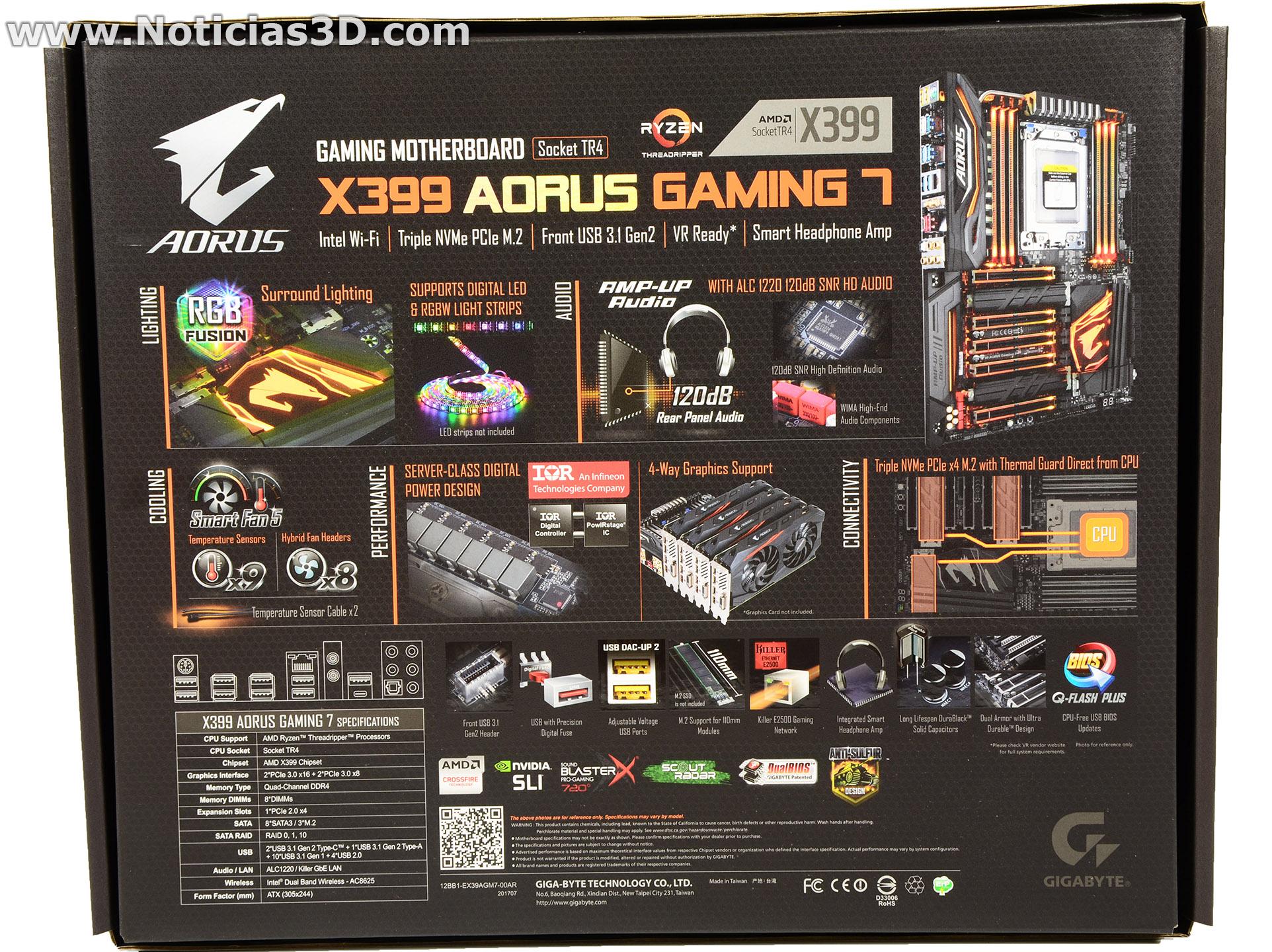 X399 Aorus Gaming 7 y Ryzen Threadripper 1950X